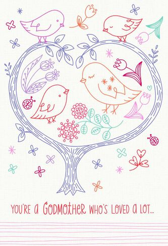 Birds in a tree happy birthday card for godmother greeting cards birds in a tree happy birthday card for godmother bookmarktalkfo Choice Image