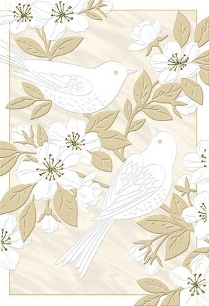 White Birds on Gold Branches Blank Anniversary Card