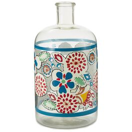 Red and Blue Flowers Glass Bottle Vase, Large, , large