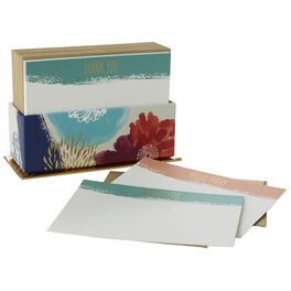 Painted Flowers Thank You and Note Cards in Caddy, Box of 50, , large