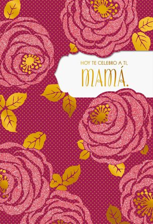 Polka Dots and Pink Roses Spanish-Language Mother's Day Card