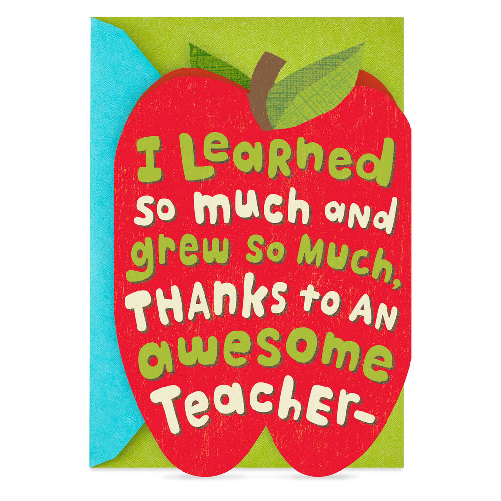 947fee36697 Apple and Worm Pop Up Thank You Card for Teacher - Greeting Cards - Hallmark