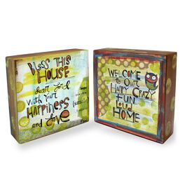 Bless This House Two-Sided Wood Block Sign, 4.5x4.5, , large