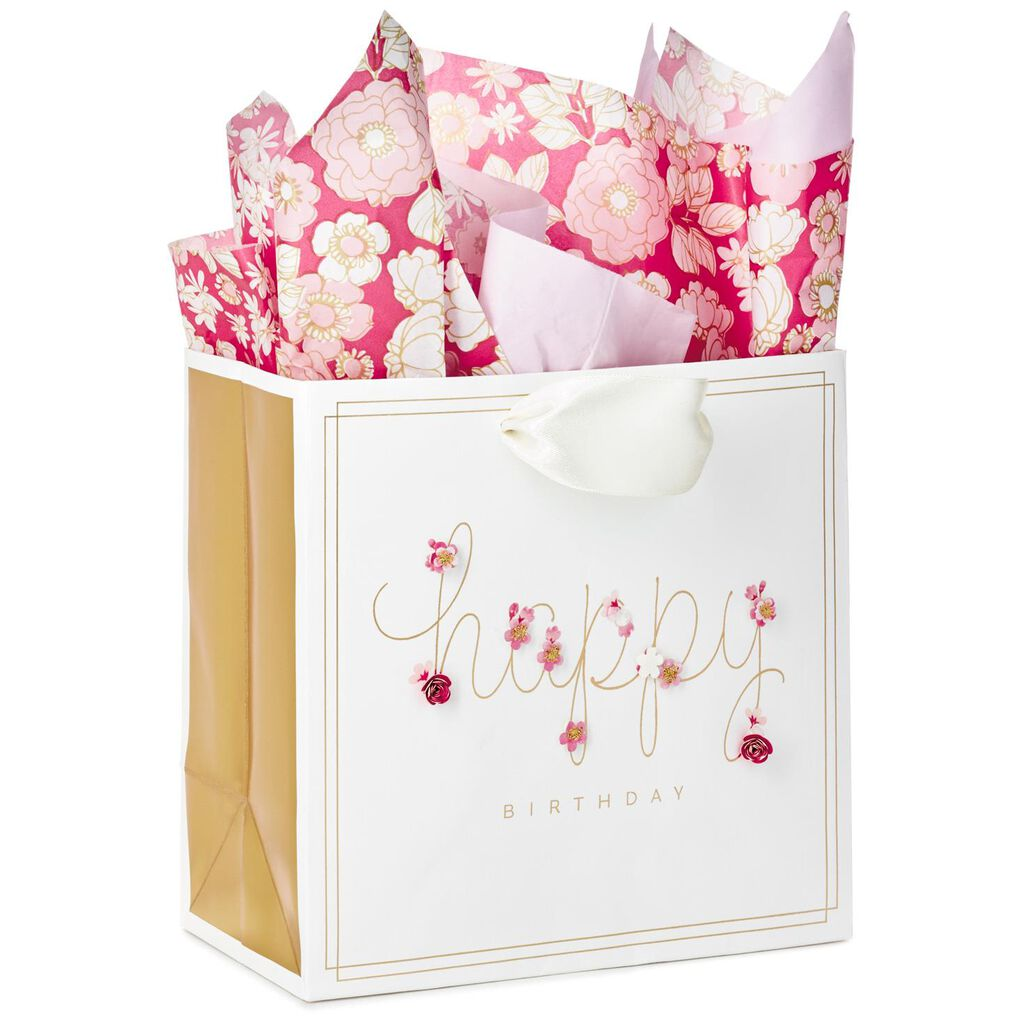 Happy Birthday Medium Square Gift Bag With Tissue Paper 775 H