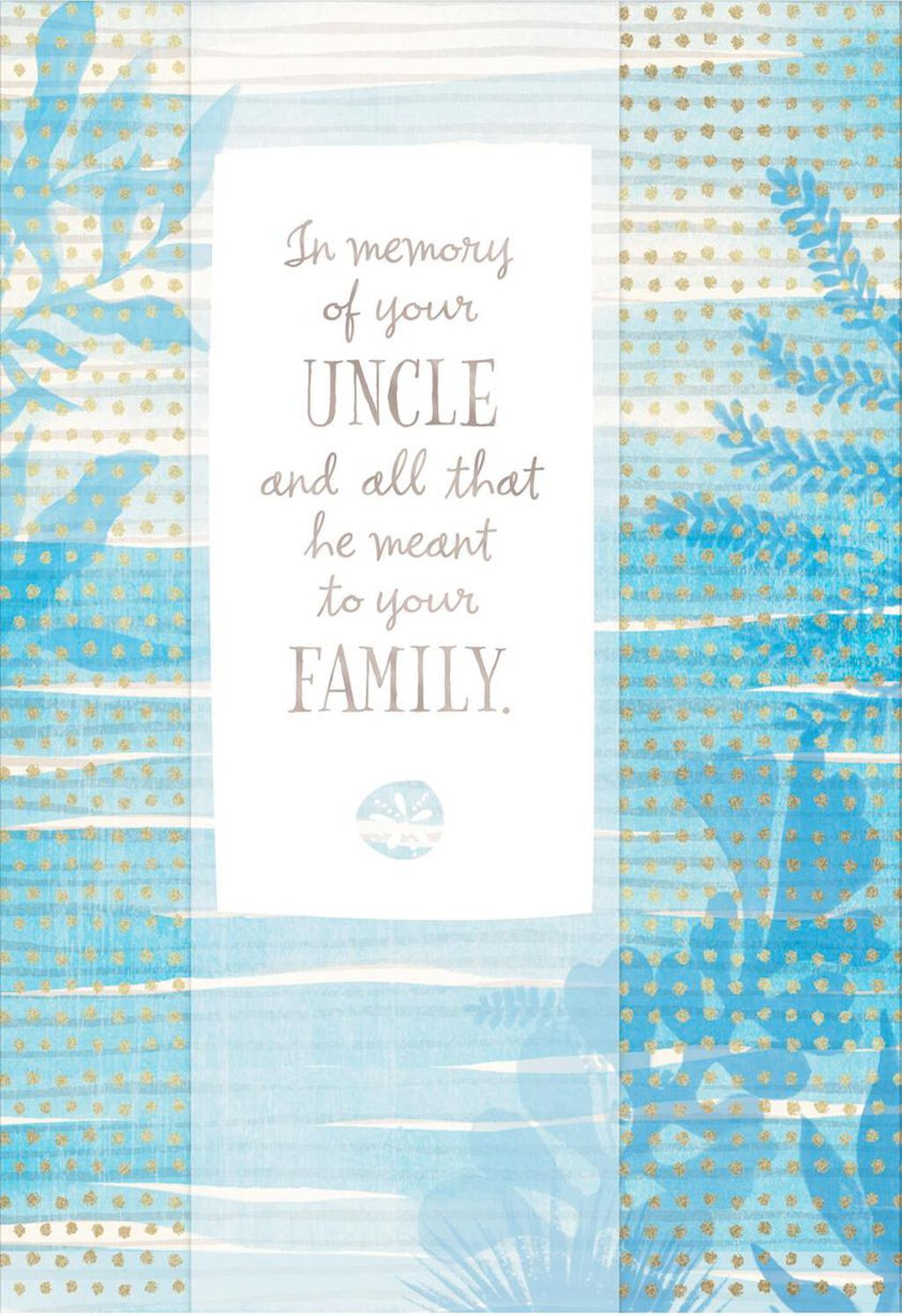 Blue Watercolor Plants Loss of Uncle Sympathy Card - Greeting Cards ...