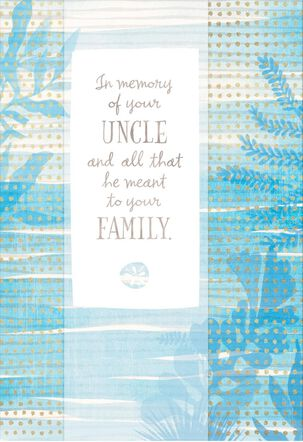 Blue Watercolor Plants Loss of Uncle Sympathy Card