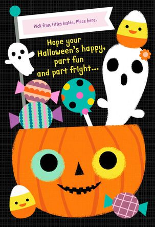Sweet Treats Halloween Card with Customizable Female Relative Stickers