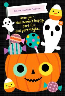 Fun, Frights and Sweet Treats Pick a Title Halloween Card for Her,