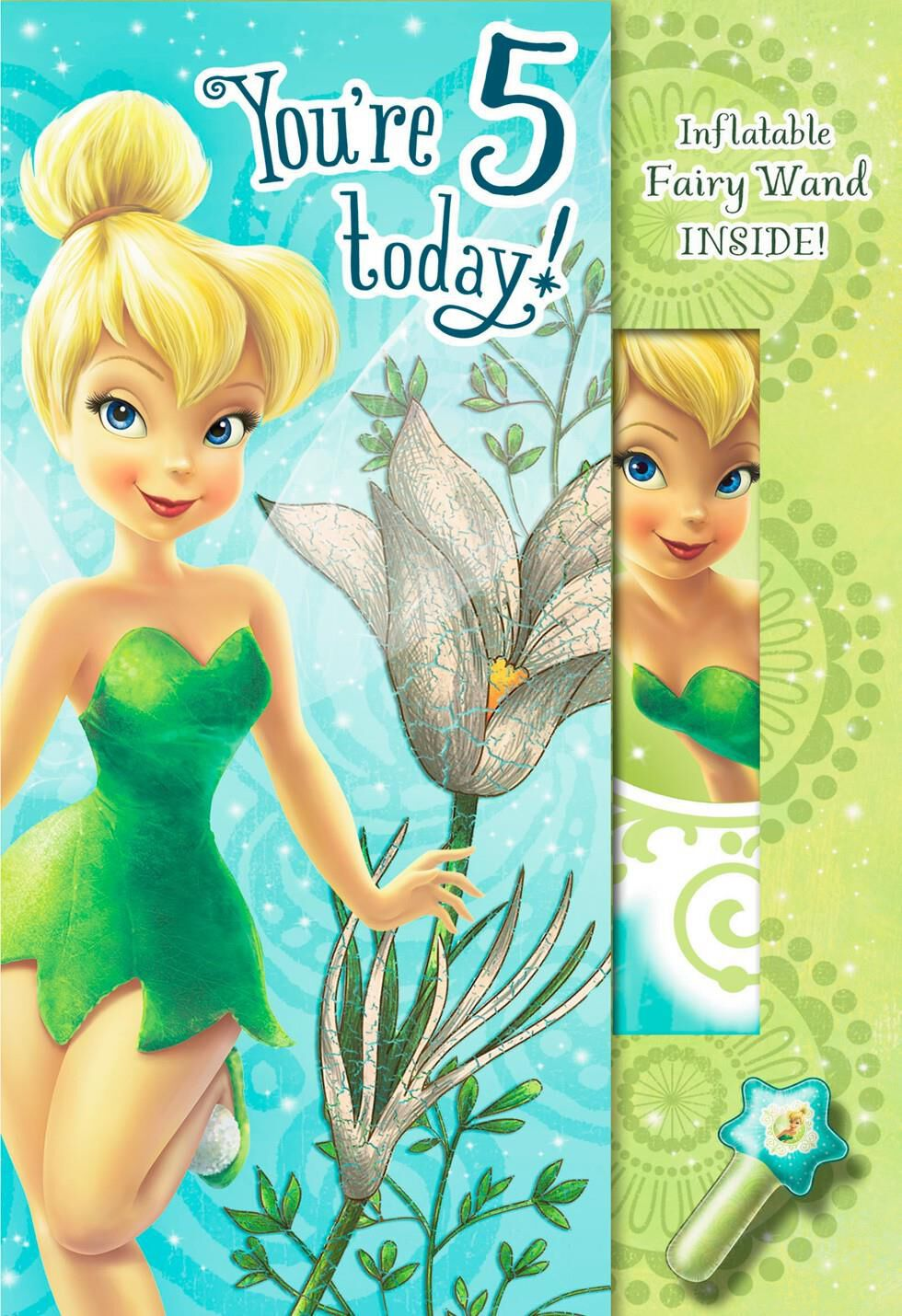 Tinker Bell 5th Birthday Card With Inflatable Fairy Wand – Tinkerbell Birthday Card