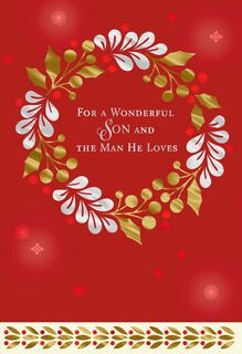 For a Wonderful Son and the Man He Loves Christmas Card,