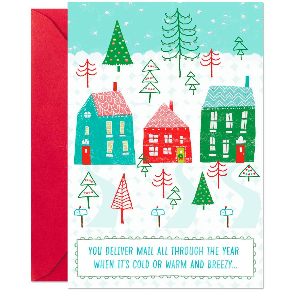 Houses in the Snow Thank You Christmas Card for Mail Carrier ...