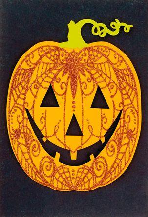 Glittery Jack-o'-Lantern Halloween Card