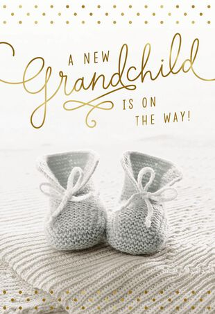 10e894c4b Knit Booties New Baby Card for Grandparents - Greeting Cards - Hallmark