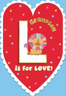L is for Love and Lions Valentine's Day Card for Grandson,