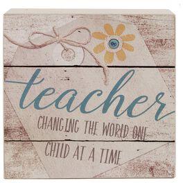 Teachers Change the World Box Sign, 4x4, , large
