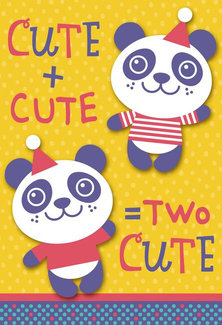 Two Cute Pandas Birthday Card For Twins Greeting Cards Hallmark