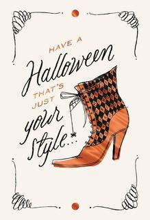 Stylish Witch Boot Halloween Card,