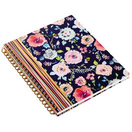 Haute Girls™ Pink Floral on Navy Spiral Notebook, , large