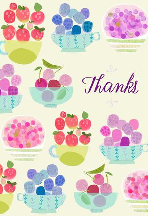 Pretty Fruit Bowls Thank You Card, Pack of 10