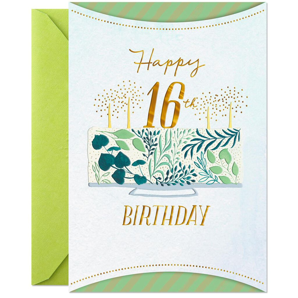 Fancy Cake With Gold Foil Lettering 16th Birthday Card