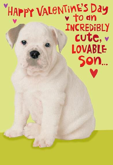 Cute Puppy For Son Valentineu0027s Day Card