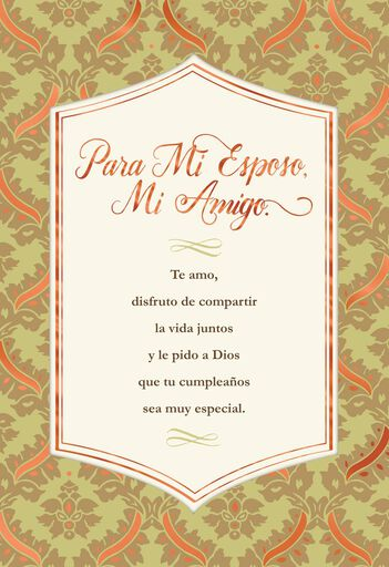 Husband And Friend Spanish Language Religious Birthday Card