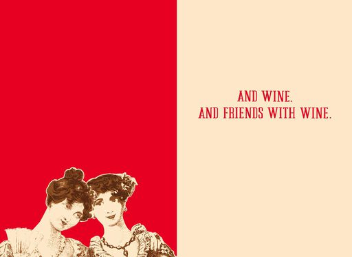 Friends and Wine Funny Valentine's Day Card,