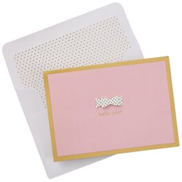Pink and Polka Dot Bow Blank Note Cards, Box of 8, , large