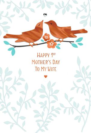 Lovebirds First Mother's Day Card for Wife