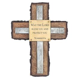 DaySpring Blessings Wood and Metal Cross, 7.75x10, , large