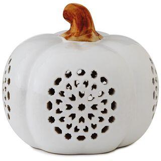 "Small Pierced Ceramic Pumpkin Luminary, 6"","