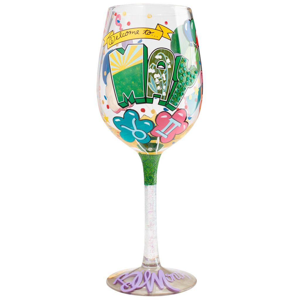 LolitaR May Birthday Month Handpainted Wine Glass 15 Oz