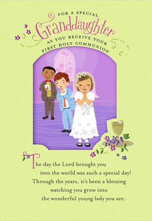 Children at Church First Communion Card for Granddaughter