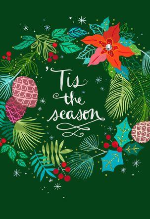 Tis the Season Festive Wreath Christmas Card