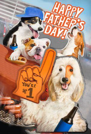 Cute Sports Fan Dogs Funny Father's Day Card