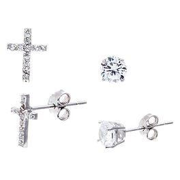 Cross Stud Earring Set in Sterling Silver, Set of 2, , large