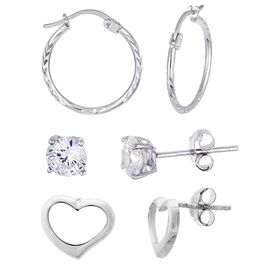Hoops, Heart and Cubic Zirconia Stud Earring Set in Sterling Silver, Set of 3, , large