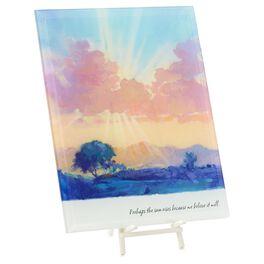 Pink Sunrise Glass Art Plaque, , large
