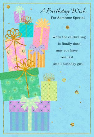 Stack of Gifts on Blue Birthday Card