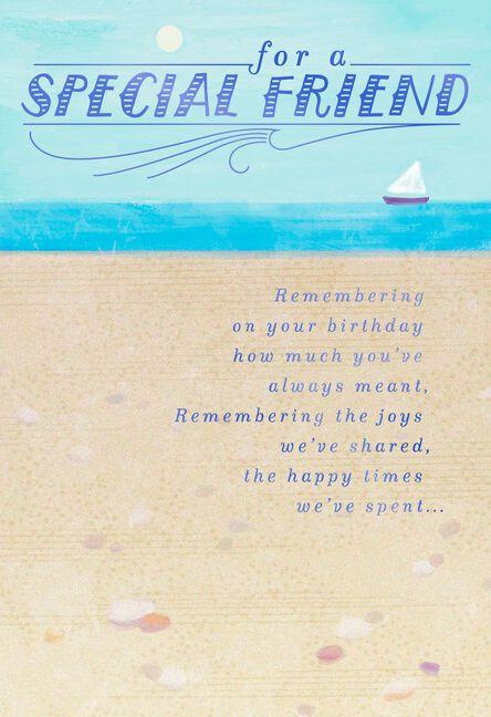 beach and sailboat birthday card for friend greeting cards hallmark