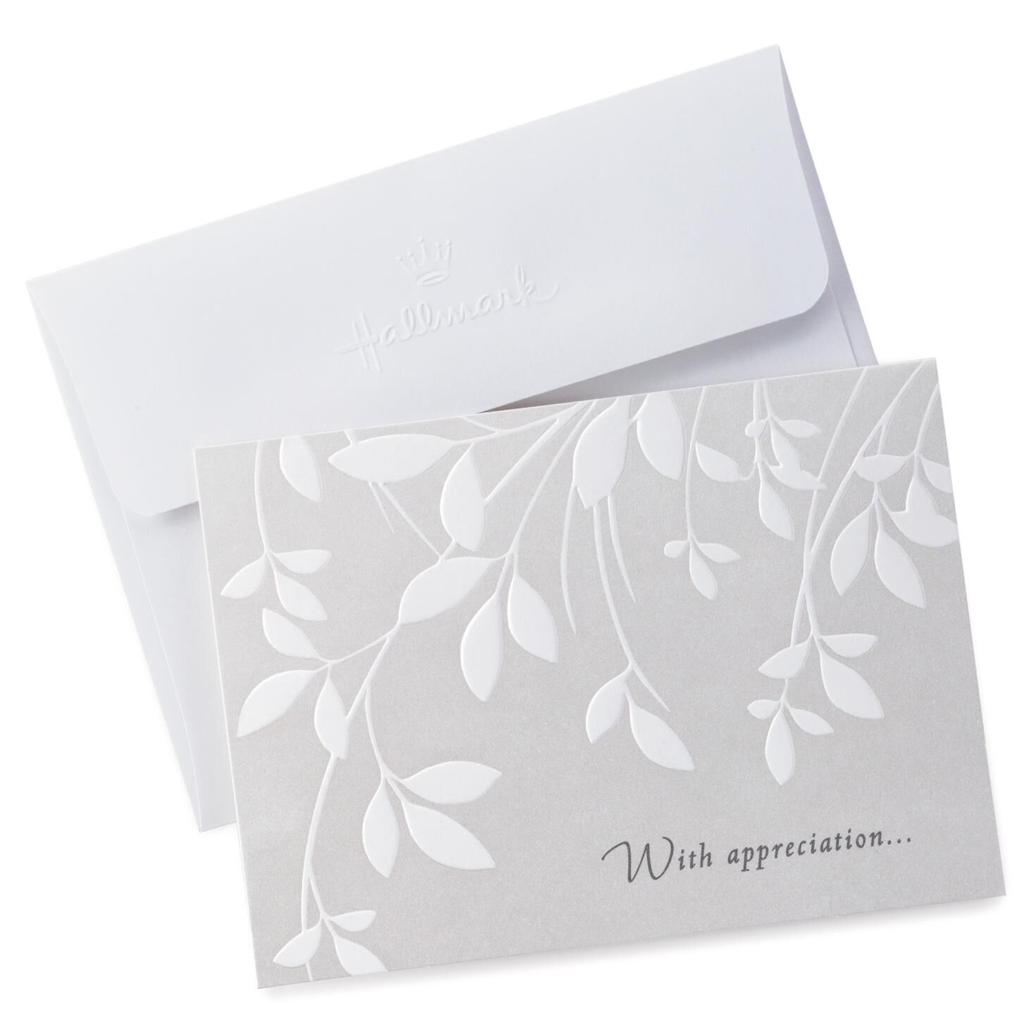 Cream Leaves Sympathy Thank You Notes Pack of 10 Note Cards