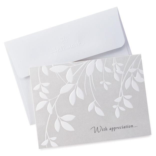 Cream Leaves Sympathy Thank You Notes, Pack Of 10 - Note Cards