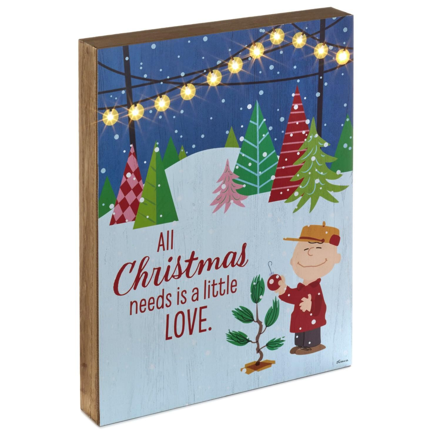 Charlie Brown Christmas Tree Quote.Peanuts Charlie Brown Christmas Needs Love Light Up Quote Sign 10x13