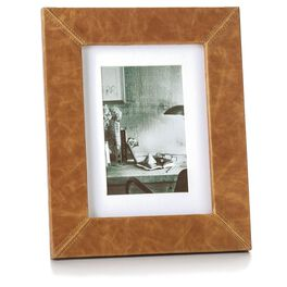 Faux Leather Wood Picture Frame with Stitched Corners, 4x6, , large