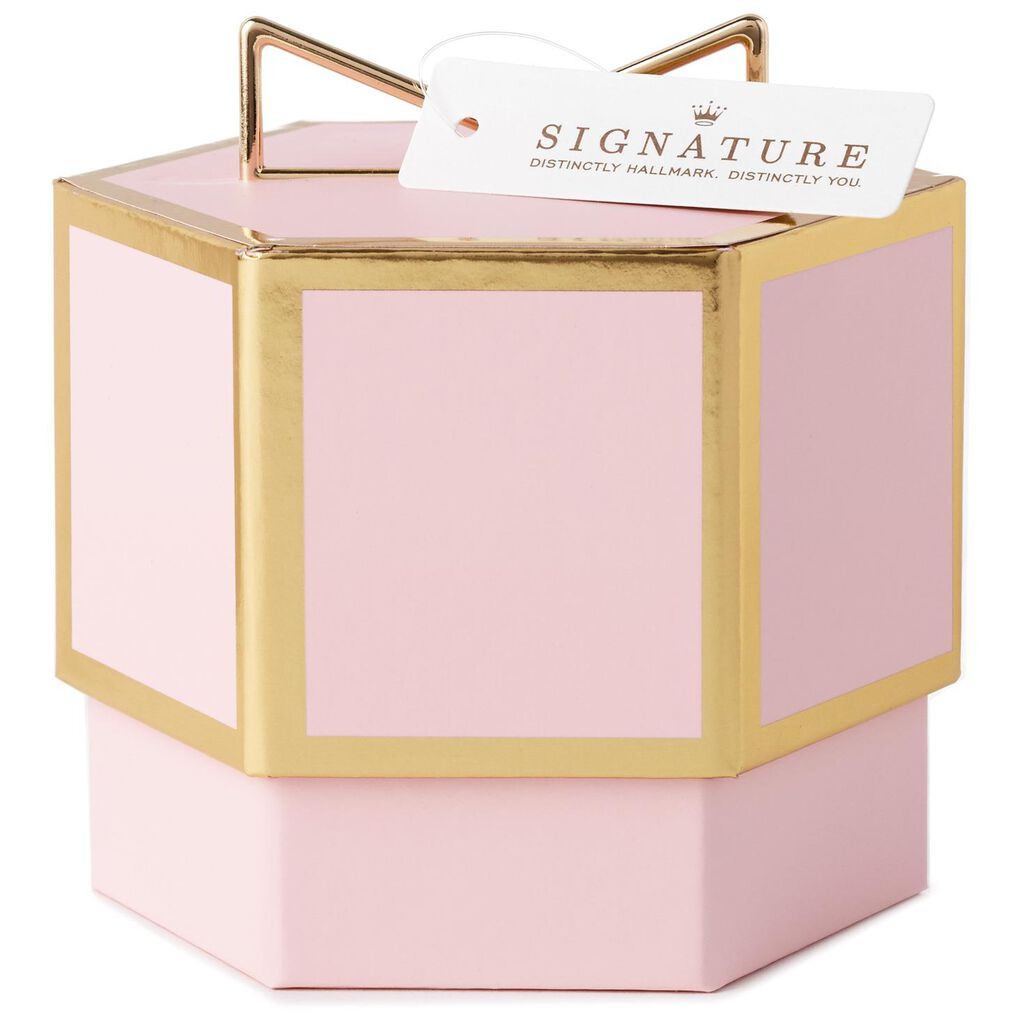 Pink With Gold Trim Small Gift Box