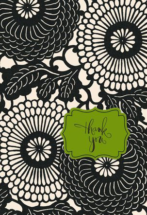 Black and White Blossoms Thank You Card