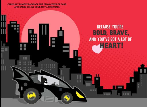 Batman™ Valentine's Day Card With Backpack Clip,