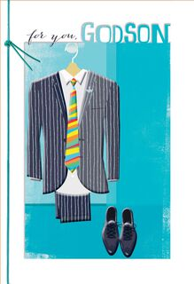 Pinstripe Suit Confirmation Card for Godson,