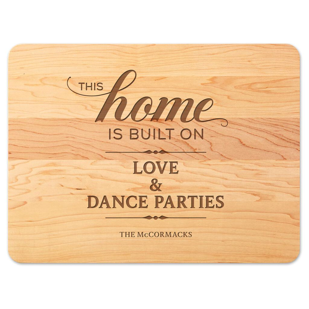 we built our home personalized wood cutting board personalized
