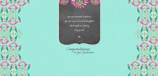 Daughter Chalkboard and Paisley Graduation Card,